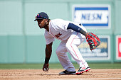 Hanley Ramirez of the Boston Red Sox bobbles the ball while fielding at first base against the Minnesota Twins in the second inning of a spring...
