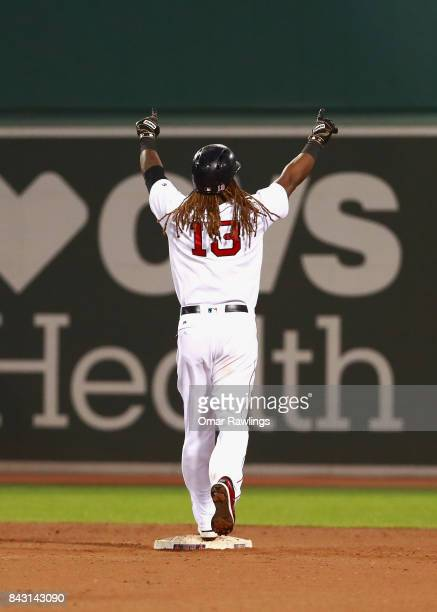 Hanley Ramirez of the Boston Red Sox celebrates after hitting an RBI single in the bottom of the nineteenth inning during the game against the...