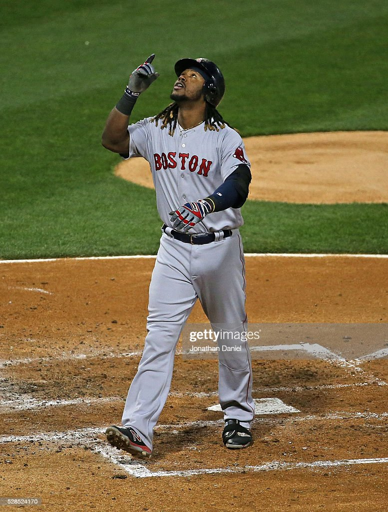 Hanley Ramirez of the Boston Red Sox celebrates his solo home run in the 3rd inning against the Chicago White Sox at US Cellular Field on May 5 2016...