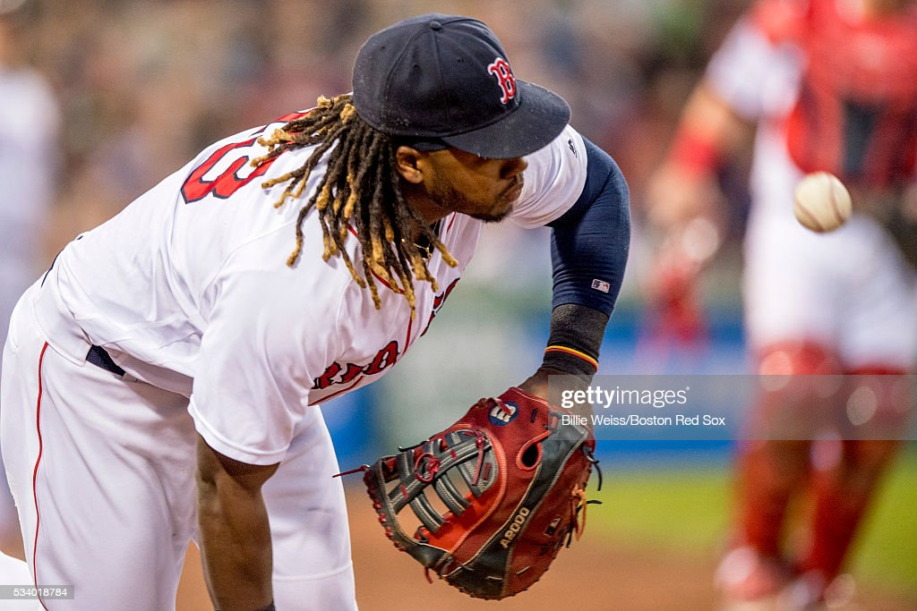 <a gi-track='captionPersonalityLinkClicked' href=/galleries/search?phrase=Hanley+Ramirez&family=editorial&specificpeople=538406 ng-click='$event.stopPropagation()'>Hanley Ramirez</a> #13 of the Boston Red Sox drops a foul ball during the third inning of a game against the Colorado Rockies on May 24, 2016 at Fenway Park in Boston, Massachusetts.