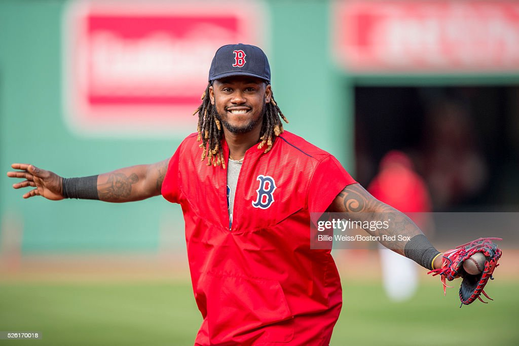 <a gi-track='captionPersonalityLinkClicked' href=/galleries/search?phrase=Hanley+Ramirez&family=editorial&specificpeople=538406 ng-click='$event.stopPropagation()'>Hanley Ramirez</a> #13 of the Boston Red Sox gestures before a game against the New York Yankees on April 29, 2016 at Fenway Park in Boston, Massachusetts .