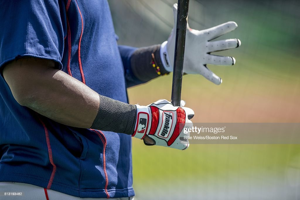 Hanley Ramirez #13 of the Boston Red Sox grips his bat as he wears batting gloves during a team workout on March 1, 2016 at Fenway South in Fort Myers, Florida .