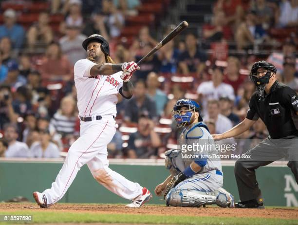 Hanley Ramirez of the Boston Red Sox hits a walkoff home run against the Toronto Blue Jays in the fifteenth inning at Fenway Park on July 18 2017 in...
