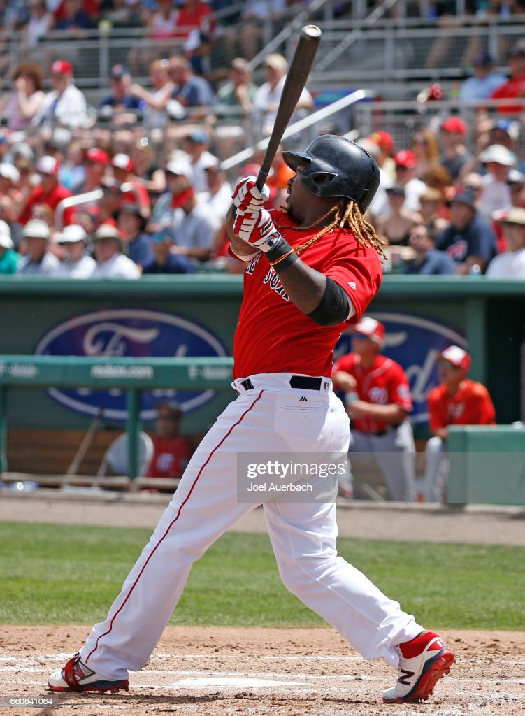 Hanley Ramirez #13 of the Boston Red Sox hits the ball against the Washington Nationals in the fourth inning during a spring training game at JetBlue Park on March 30, 2017 in Fort Myers, Florida. The Red Sox defeated the Nationals 8-1.