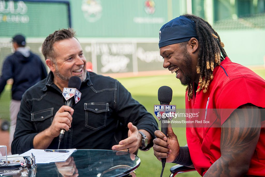 Hanley Ramirez #13 of the Boston Red Sox laughs on the set of MLB Network with former Boston Red Sox player Kevin Millar before a game against the New York Yankees on April 29, 2016 at Fenway Park in Boston, Massachusetts .
