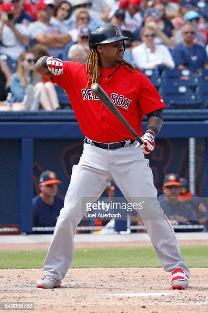 Hanley Ramirez of the Boston Red Sox prepares to bat against the Houston Astros in the third inning during a spring training game at The Ballpark of...