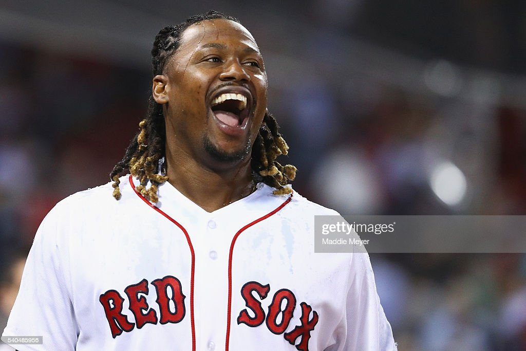 <a gi-track='captionPersonalityLinkClicked' href=/galleries/search?phrase=Hanley+Ramirez&family=editorial&specificpeople=538406 ng-click='$event.stopPropagation()'>Hanley Ramirez</a> #13 of the Boston Red Sox reacts after David Ortiz #34 dunked him with Powerade after defeating the Baltimore Orioles 6-4 at Fenway Park on June 15, 2016 in Boston, Massachusetts.