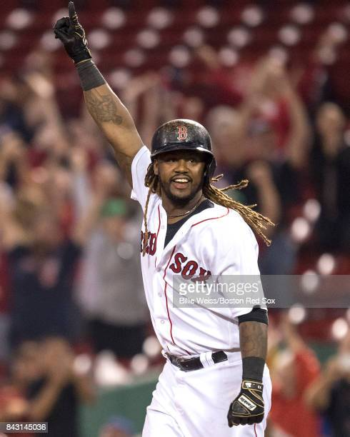 Hanley Ramirez of the Boston Red Sox reacts after hitting a game winning walkoff single during the nineteenth inning of a game against the Toronto...