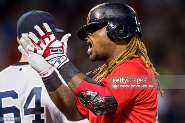 Hanley Ramirez of the Boston Red Sox reacts after hitting a single during the seventh inning of a game against the New York Yankees on July 14 2017...