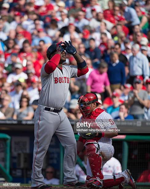 Hanley Ramirez of the Boston Red Sox reacts after hitting a solo home run in the fifth inning against the Philadelphia Phillies at Citizens Bank Park...