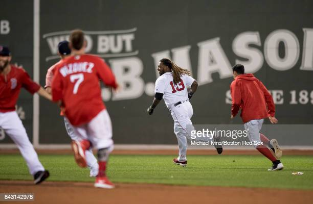 Hanley Ramirez of the Boston Red Sox reacts after hitting a walkoff single against the Toronto Blue Jays in the nineteenth inning at Fenway Park on...