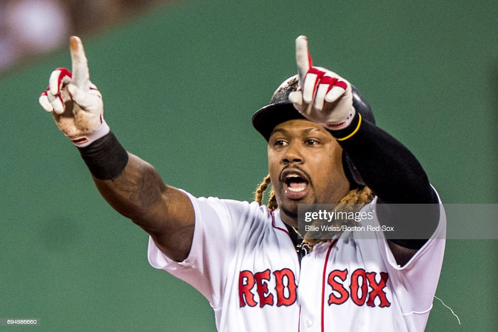 Hanley Ramirez #13 of the Boston Red Sox reacts after hitting an RBI single during the first inning of a game against the Detroit Tigers on June 11, 2017 at Fenway Park in Boston, Massachusetts.