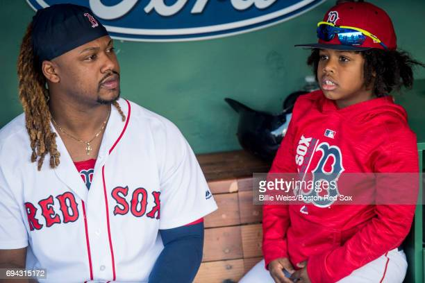 Hanley Ramirez of the Boston Red Sox reacts with his son Hansel Ramirez before a game against the Detroit Tigers on June 9 2017 at Fenway Park in...