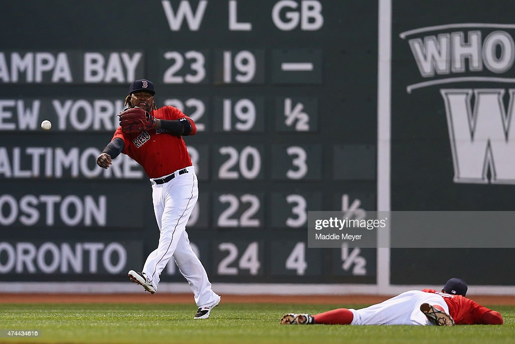 Hanley Ramirez #13 of the Boston Red Sox returns a ball hit by Matt Joyce #20 of the Los Angeles Angels of Anaheim during the fourth inning at Fenway Park on May 22, 2015 in Boston, Massachusetts.