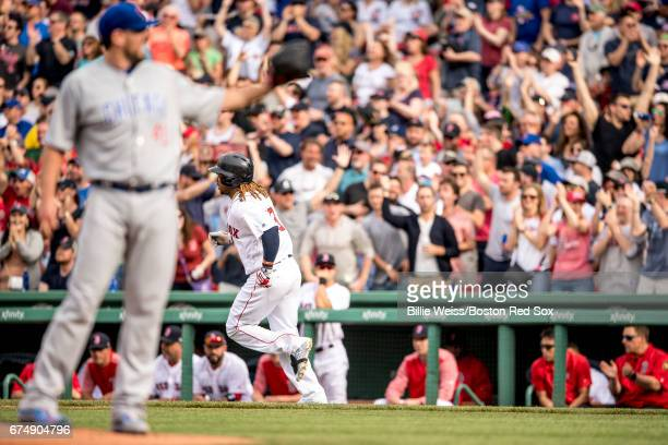 Hanley Ramirez of the Boston Red Sox rounds the after hitting a solo home run off of John Lackey during the third inning of a game on April 29 2017...