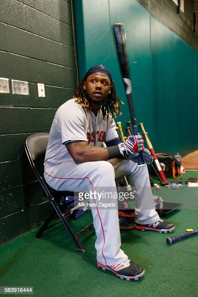 Hanley Ramirez of the Boston Red Sox sits in the indoor batting cage prior to the game against the San Francisco Giants at ATT Park on June 8 2016 in...