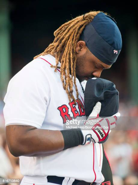 Hanley Ramirez of the Boston Red Sox stands for the national anthem before a game against the Toronto Blue Jays in the first inning at Fenway Park on...