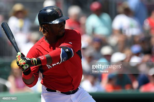 Hanley Ramirez of the Boston Red Sox swings at a pitch during a spring training game against the New York Mets at JetBlue Park at Fenway South on...