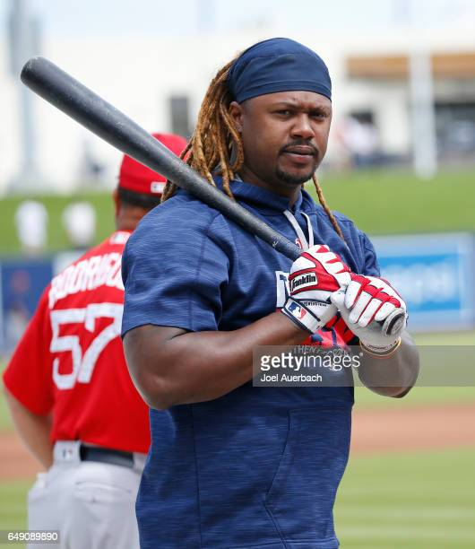 Hanley Ramirez of the Boston Red Sox waits his turn for batting practice prior to the spring training game against the Houston Astros at The Ballpark...