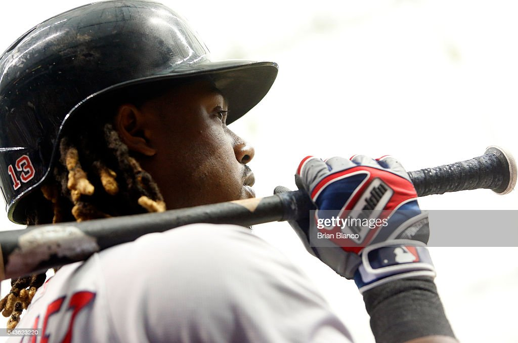 Hanley Ramirez #13 of the Boston Red Sox waits on deck to bat during the sixth inning of a game against the Tampa Bay Rays on June 29, 2016 at Tropicana Field in St. Petersburg, Florida.