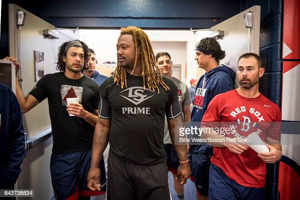 Hanley Ramirez of the Boston Red Sox walks out of the clubhouse during a team workout on February 22 2017 at Fenway South in Fort Myers Florida