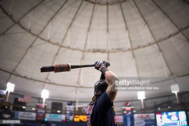 Hanley Ramirez of the Boston Red Sox warms up before batting against the Tampa Bay Rays in the first inning on September 23 2016 at Tropicana Field...