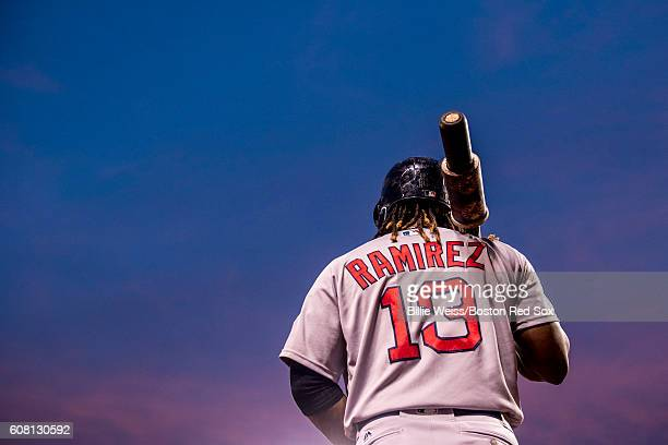 Hanley Ramirez of the Boston Red Sox warms up on deck during the first inning of a game against the Baltimore Orioles on September 19 2016 at Oriole...