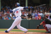 Hanley Ramirez of the Dodgers bats during the MLB match between the Los Angeles Dodgers and the Arizona Diamondbacks at Sydney Cricket Ground on...