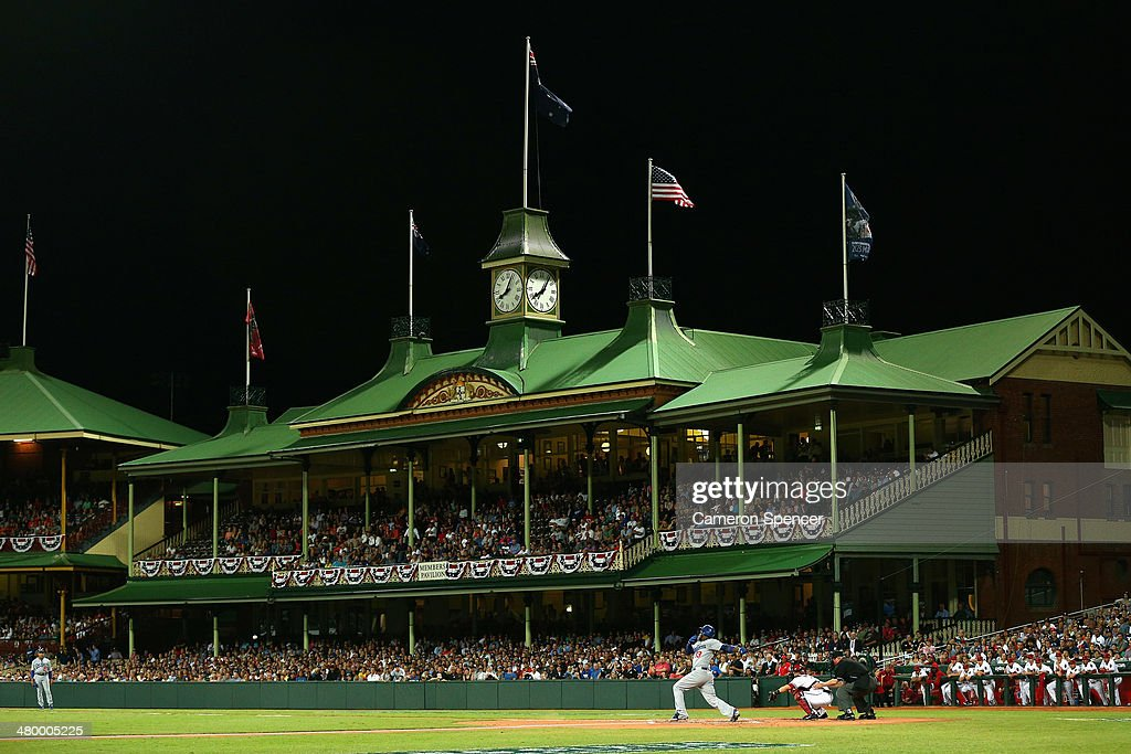 Hanley Ramirez of the Dodgers bats during the opening match of the MLB season between the Los Angeles Dodgers and the Arizona Diamondbacks at Sydney...
