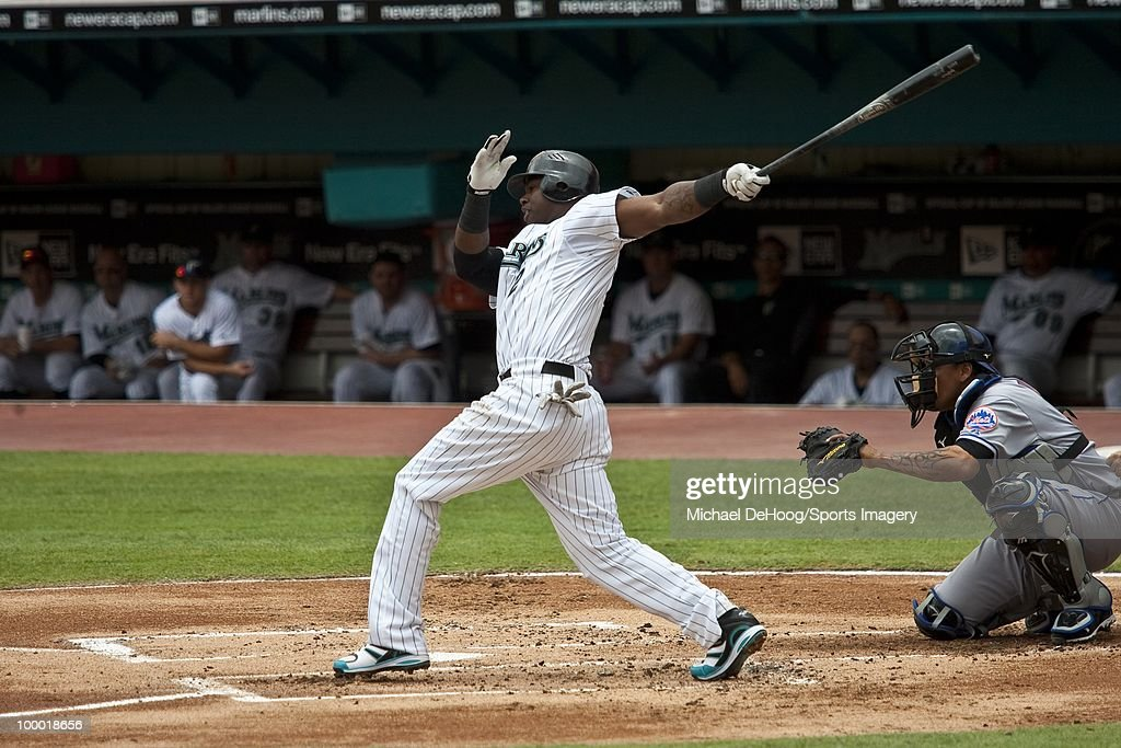 Hanley Ramirez #2 of the Florida Marlins bats during a MLB game against the New York Mets in Sun Life Stadium on May 16, 2010 in Miami, Florida.