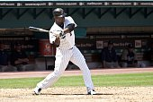 Hanley Ramirez of the Florida Marlins bats during a MLB game against the San Diego Padres in Sun Life Stadium on April 28 2010 in Miami Florida Photo...