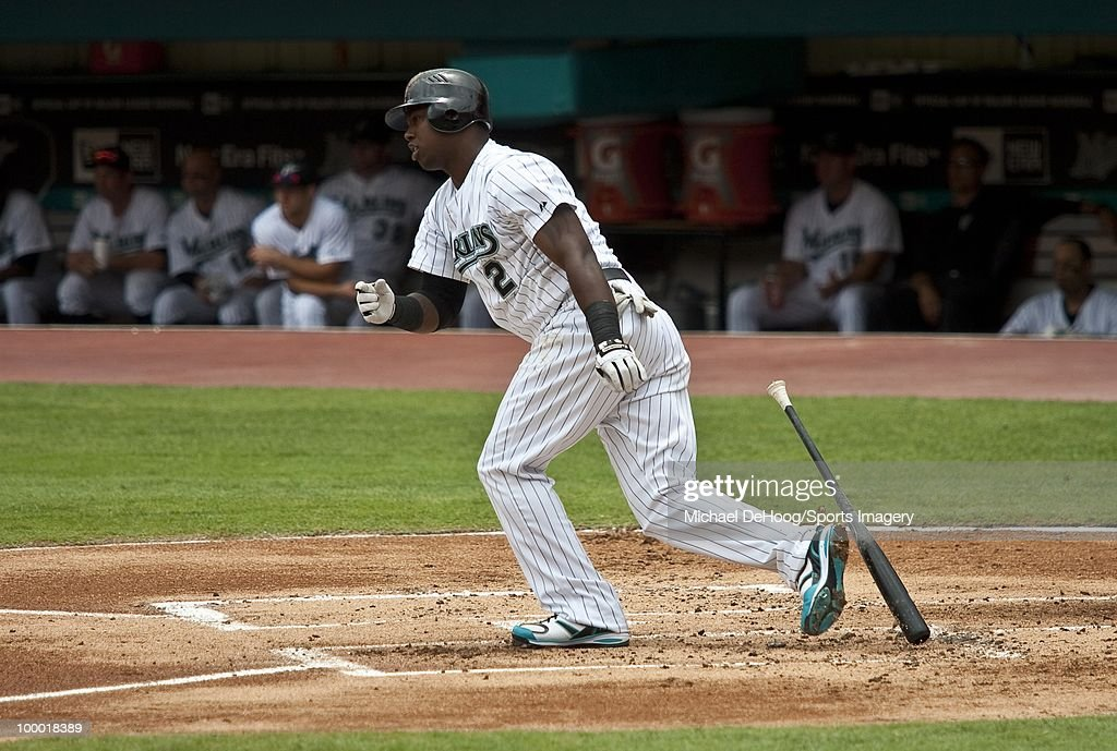 Hanley Ramirez #2 of the Florida Marlins runs to first base during a MLB game against the New York Mets in Sun Life Stadium on May 16, 2010 in Miami, Florida.