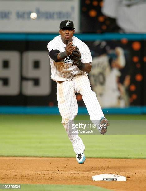 Hanley Ramirez of the Florida Marlins throws out Yunel Escobar of the Atlanta Braves for the final out of the eighth inning at Sun Life Stadium on...