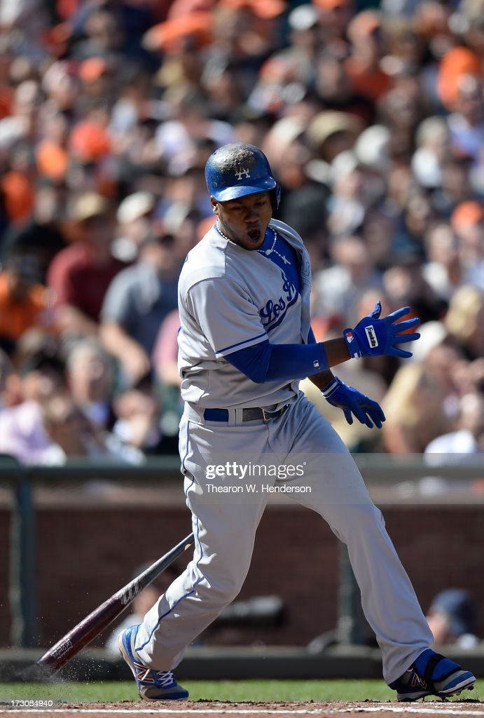 <a gi-track='captionPersonalityLinkClicked' href=/galleries/search?phrase=Hanley+Ramirez&family=editorial&specificpeople=538406 ng-click='$event.stopPropagation()'>Hanley Ramirez</a> #13 of the Los Angeles Dodger reacts after hit a short pop-up that gets caught in short right field by second baseman Marco Scutaro #19 of the San Francisco Giants in the second inning at AT&T Park on July 6, 2013 in San Francisco, California.