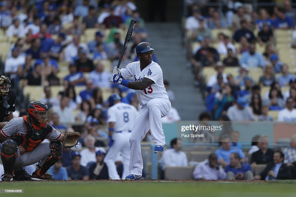 Hanley Ramirez #13 of the Los Angeles Dodgers bats during the game against the San Francisco Giants on October 3, 2012 at Dodger Stadium in Los Angeles, California. The Dodgers won the game 5-1.
