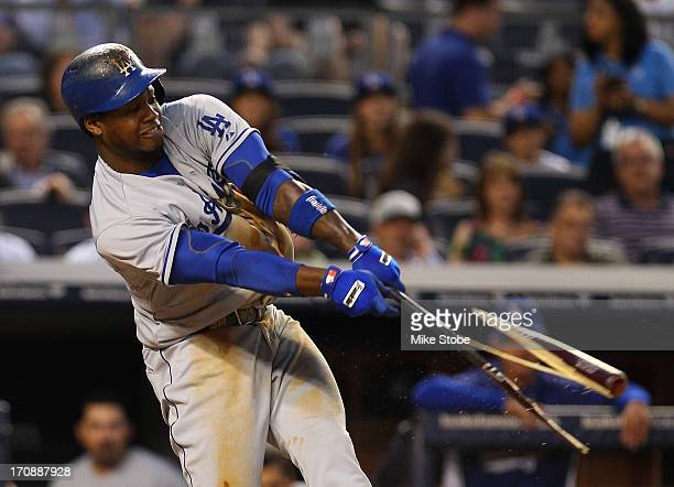 Hanley Ramirez of the Los Angeles Dodgers breaks his bat hitting a RBI single in the fifth inning against the New York Yankees at Yankee Stadium on...