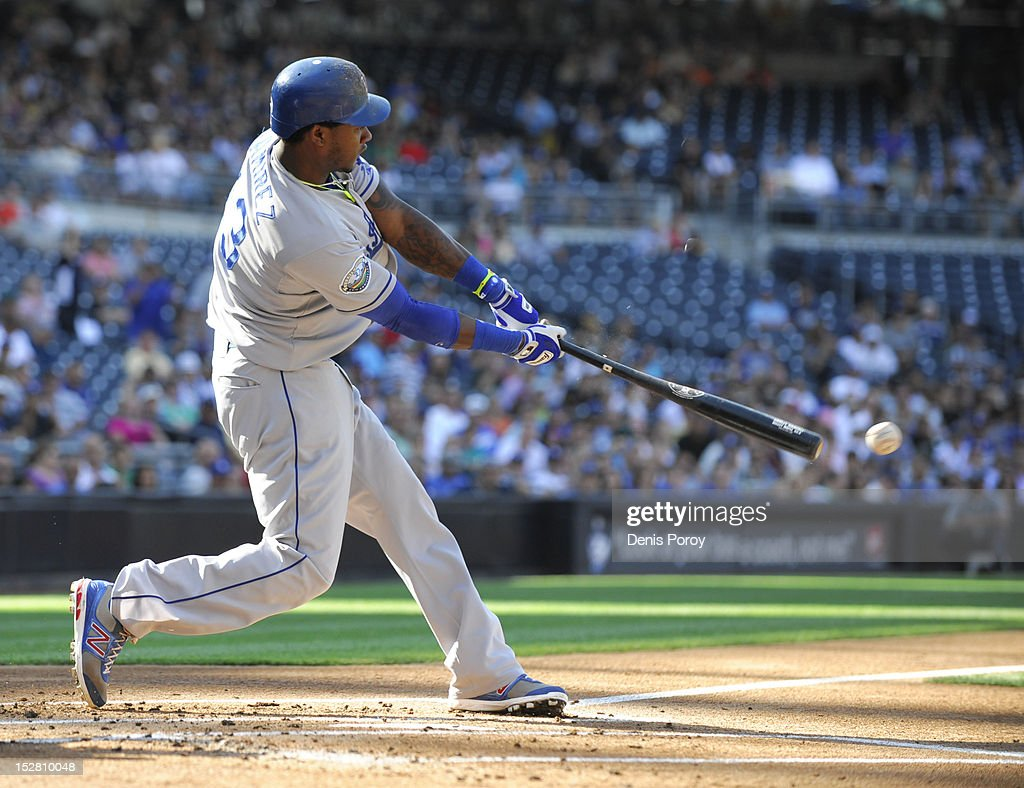 <a gi-track='captionPersonalityLinkClicked' href=/galleries/search?phrase=Hanley+Ramirez&family=editorial&specificpeople=538406 ng-click='$event.stopPropagation()'>Hanley Ramirez</a> #13 of the Los Angeles Dodgers hits an RBI single during the first inning of a baseball game against the San Diego Padres at Petco Park on September 26, 2012 in San Diego, California.