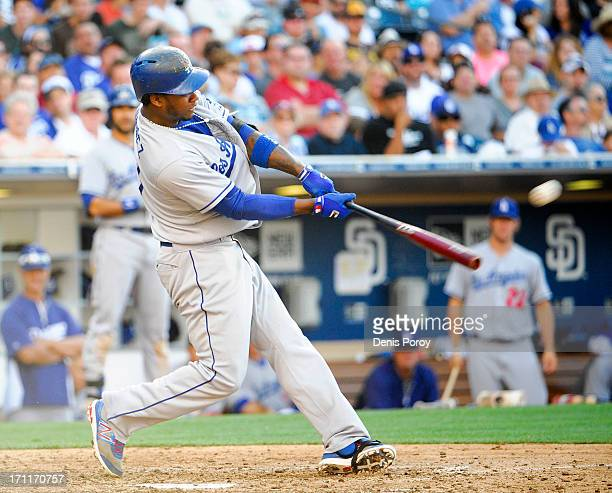 Hanley Ramirez of the Los Angeles Dodgers hits solo home run during the seventh inning of a baseball game against the San Diego Padres at Petco Park...