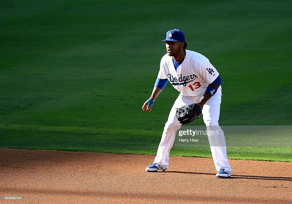 <a gi-track='captionPersonalityLinkClicked' href=/galleries/search?phrase=Hanley+Ramirez&family=editorial&specificpeople=538406 ng-click='$event.stopPropagation()'>Hanley Ramirez</a> #13 of the Los Angeles Dodgers plays shortstop against the Washington Nationals at Dodger Stadium on September 1, 2014 in Los Angeles, California.