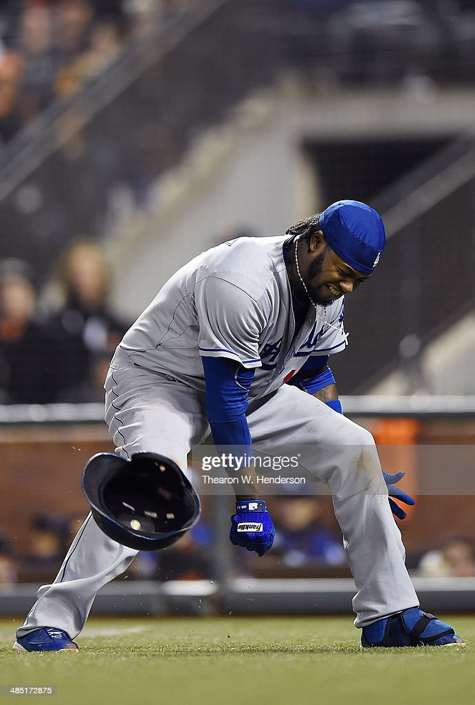 <a gi-track='captionPersonalityLinkClicked' href=/galleries/search?phrase=Hanley+Ramirez&family=editorial&specificpeople=538406 ng-click='$event.stopPropagation()'>Hanley Ramirez</a> #13 of the Los Angeles Dodgers reacts in pain, slams his helmet down after he was hit in the hand with a pitch from Ryan Vogelsong #32 of the San Francisco Giants (not pictured) in the top of the seventh inning at AT&T Park on April 16, 2014 in San Francisco, California.