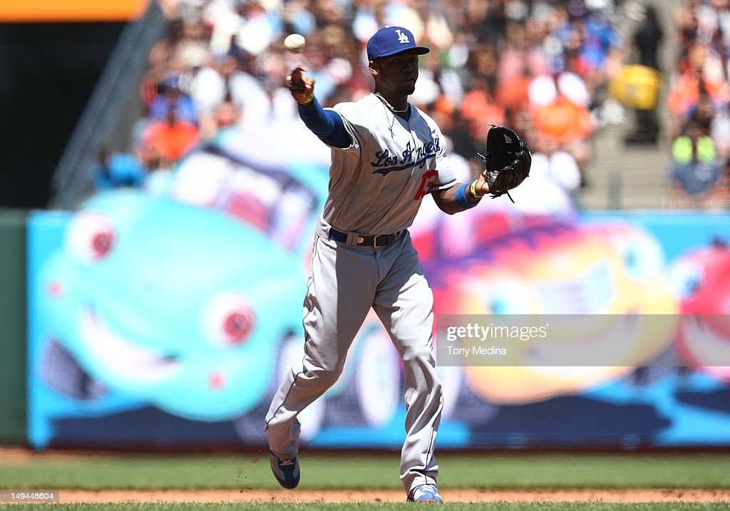 Hanley Ramirez of the Los Angeles Dodgers throws to first base for an out after fielding a ground ball in the bottom of the fourth inning as the Los...