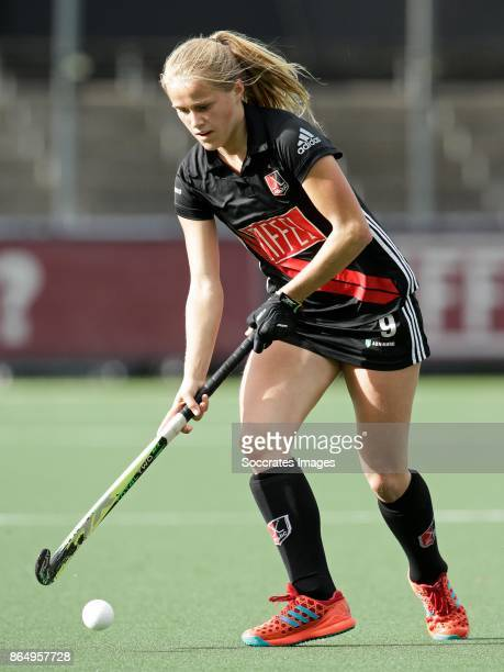 Hanna Bergkamp of Amsterdam Dames 1 during the match between Amsterdam D1 v Groningen D1 at the Wagener Stadium on October 22 2017 in Amsterdam...