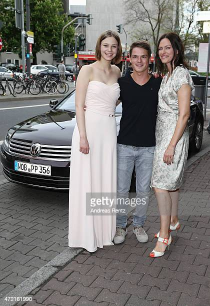 Hanna Binke Marvin Linke and Nina Kronjaeger arrive for the Frankfurt premiere of the film 'Ostwind 2' at Cinestar on May 4 2015 in Frankfurt am Main...