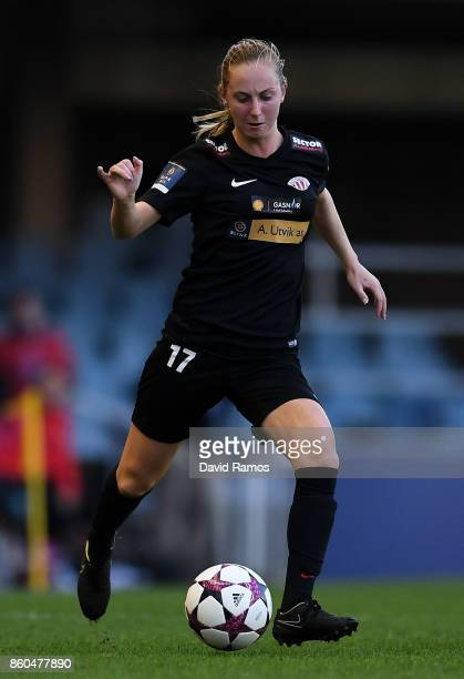 Hanna Dahl of Avaldsnes runs with the ball during the UEFA Womens Champions League round of 32 match between FC Barcelona and Avaldsnes at the Mini...