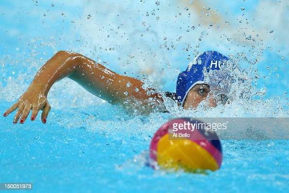 Hanna Kisteleki of Hungary swims to the ball during the Women's Water Polo Bronze Medal match between Australia and Hungary on Day 13 of the London...