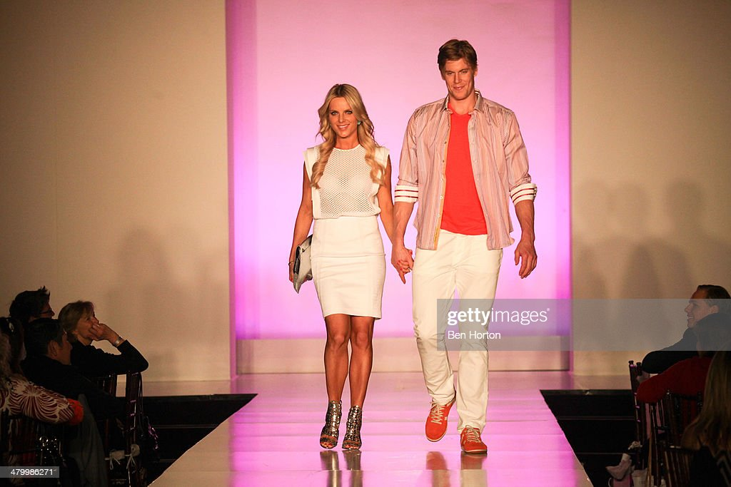 Hanna Koivu her husband hockey player Saku Koivu attend the Anaheim Lady Ducks Fashion Show Luncheon with Bloomingdale's South Coast Plaza at Montage...