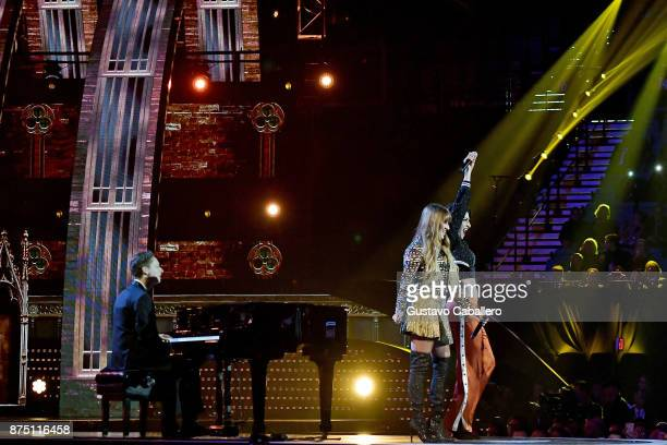 Hanna Nicole Perez Mosa and Ashley Grace Perez Mosa of HaAsh perform onstage during The 18th Annual Latin Grammy Awards at MGM Grand Garden Arena on...