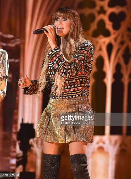 Hanna Nicole Perez Mosa of HaAsh onstage during The 18th Annual Latin Grammy Awards at MGM Grand Garden Arena on November 16 2017 in Las Vegas Nevada