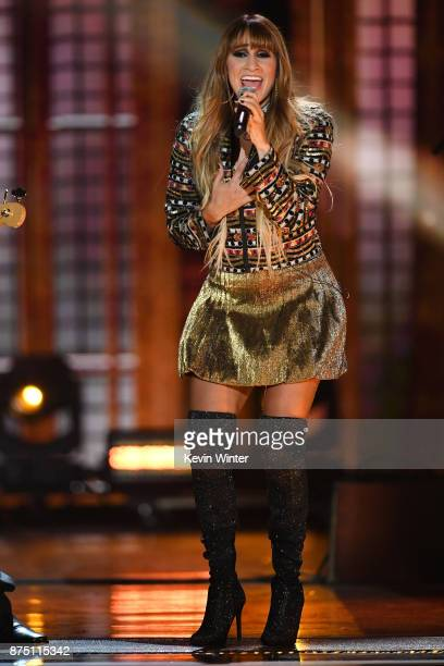 Hanna Nicole Perez Mosa of HaAsh performs onstage at the 18th Annual Latin Grammy Awards at MGM Grand Garden Arena on November 16 2017 in Las Vegas...
