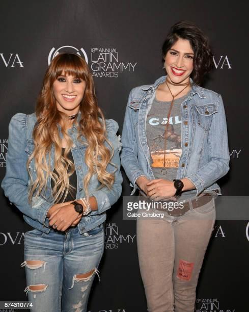 Hanna Nicole Pérez Mosa and Ashley Grace Pérez Mosa of Ha*Ash attend the gift lounge during the 18th annual Latin Grammy Awards at MGM Grand Garden...